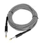 6.35mm to 6.35mm M-M Braided Audio Cable for Guitar - Black+White (5m)