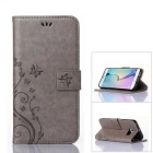 MO.MAT Butterfly in Love with Flower Emboss Leather Wallet Case for Samsung Galaxy S6 Edge - Grey