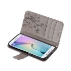 Butterfly Style Leather Case for Samsung Galaxy S6 Edge - Grey