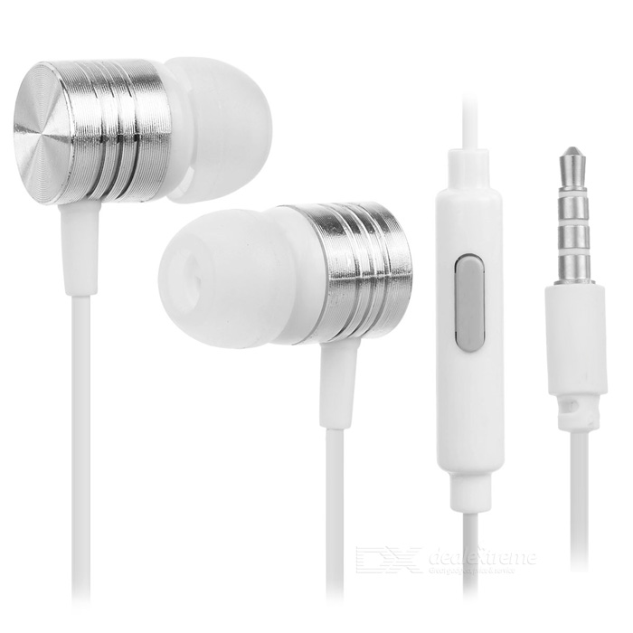 3.5mm Earphones w/ Audio Cable for Cellphones - White + Silver (2PCS)
