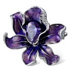 Xinguang Women's Flower Style Purple Crystal Brooch - Silver + Purple