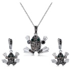 Xinguang Women's Retro Frog Style Crystal Earrings + Necklace