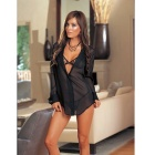 Women's 3-in-1 Chiffon Sexy Lingerie + Perspective Shirt Suit - Black
