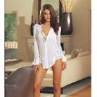 Women's 3-in-1 Chiffon Sexy Lingerie + Perspective Shirt Suit - White