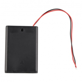 3*AA Batteries Holder Case Box w/ Leads / Switch / Cover - Black
