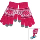 Winter Warm Knitted Cotton Capacitive Screen Touch Gloves for IPHONE & More - Deep Pink (Pair)