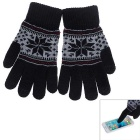 Winter Warm Knitted Cotton Capacitive Screen Touch Gloves for IPHONE & Samsung + More - Black (Pair)