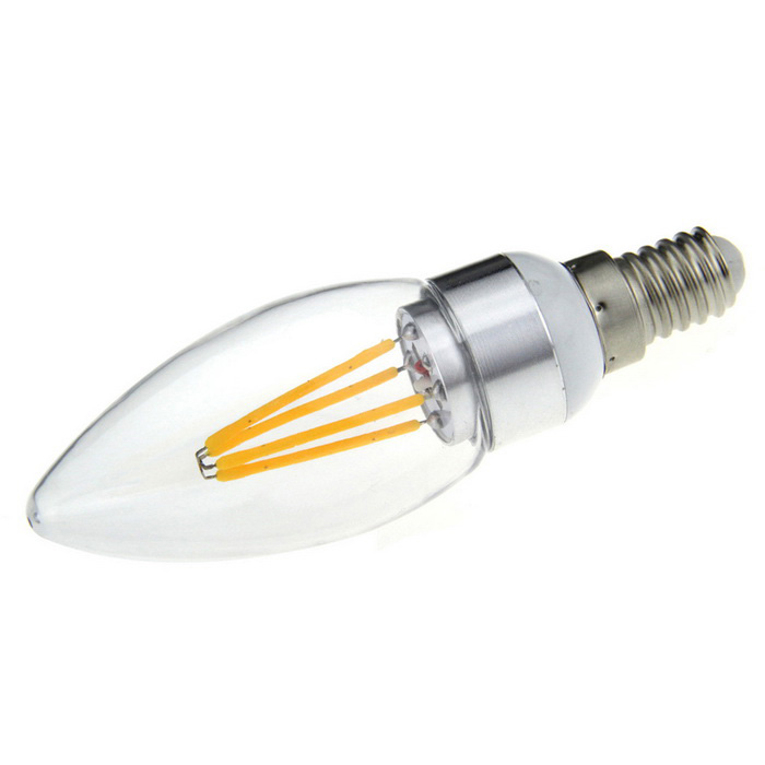 FandyFire E14 4W 4-COB Household Light Bulb Warm White 3000K 700lm (AC 220V)