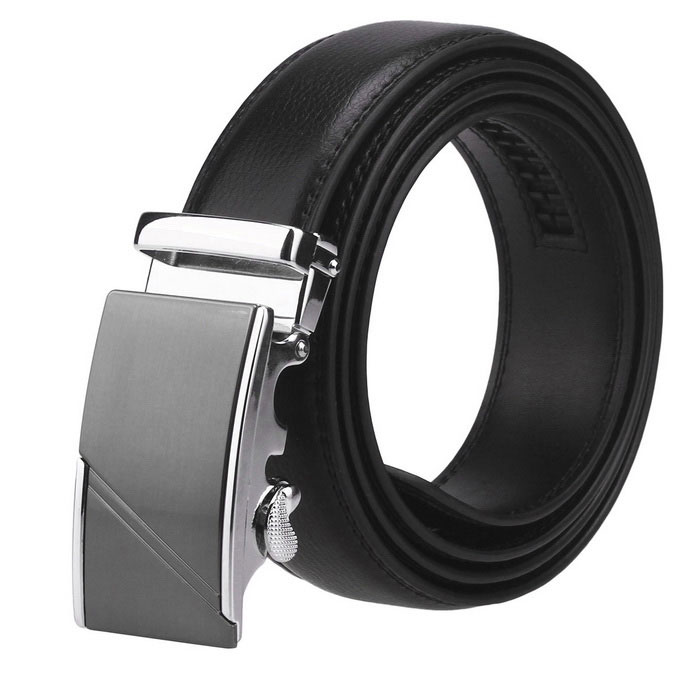Fanshimite J19 Men's Automatic Buckle Leather Belt - Black (110cm)
