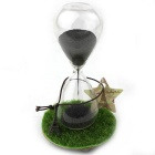 Iron Powder Flowering Magnetic Force Sand Glass Hourglass Decoration - Transparent + Black