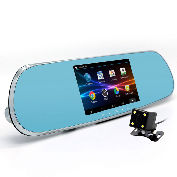 "5 ""1080P Android Car Rearview Mirror DVR w / GPS / US + CA Map - Prata"