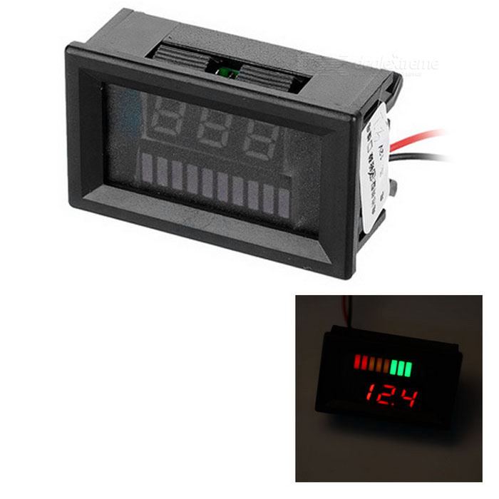 Electric Quantity / Red Light Voltage Meter for 12V Lead-Acid Battery