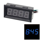 "DIY Multifunctional 2"" Car Blue LED Digital Clock Support Temperature Voltage Clock Display - Black"