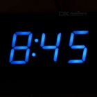 "2 ""carro LED azul Digital Clock w / display de tensão Temperatura - preto"