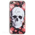 Colored Drawing Skull Style Plastic Back Case for IPHONE 6 / 6S - Black + White + Multicolor