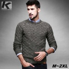 KUEGOU Men's Round Neck Jacquard Knitted Pullover Sweater - Grey (M)