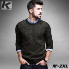 KUEGOU Men's Round Neck Jacquard Knitted Pullover Sweater - Black (XL)