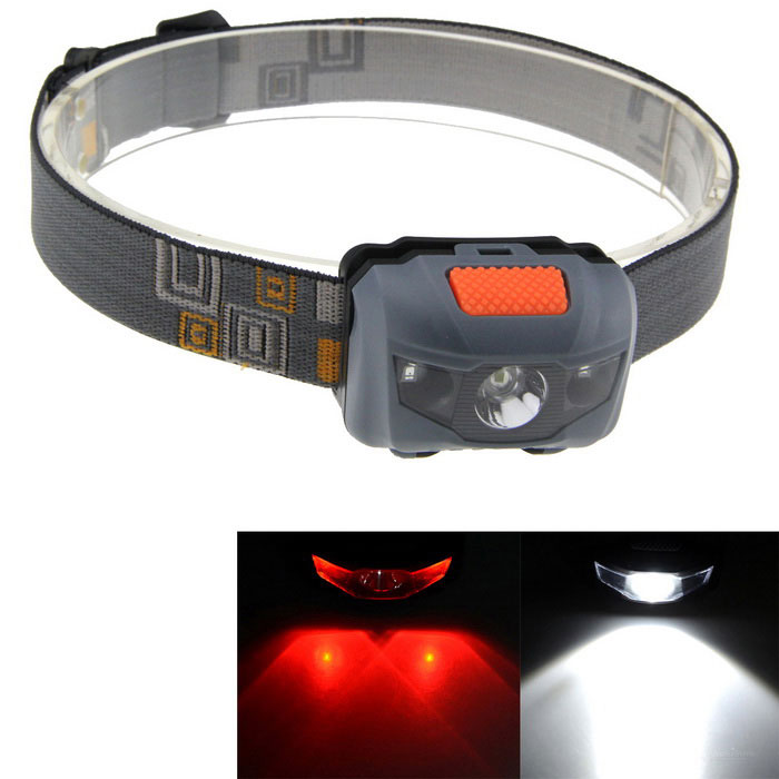 Outdoor 3-Mode White + Red LED Small Headlight - Grey