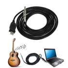 "gitar bass 1/4"" 6,3 mm til USB-link-kabel til PC / Mac opptak (3m)"