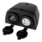 Jtron 5V 2.1A Dual-USB Charger w/ 20A Cigarette Lighter Socket - Black