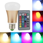 KINFIRE E27 10W LED RGB Bulb + 24 Key IR Remote Controller - Golden