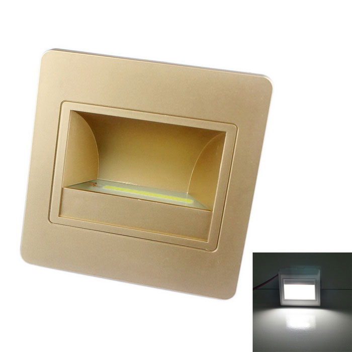JIAWEN 1.5W 6500K 120lm Embedded LED Footlight Stair Lamp Night LightLED Nightlights<br>MaterialPC Flame retardant materialForm  ColorChampagneQuantity1 DX.PCM.Model.AttributeModel.UnitPowerOthers,1.5WRated VoltageOthers,AC 100-265 DX.PCM.Model.AttributeModel.UnitConnector TypeOthers,WiringColor BINWhiteChip BrandOthers,N/AEmitter TypeCOBTotal Emitters1Theoretical Lumens80-120 DX.PCM.Model.AttributeModel.UnitActual Lumens80-120 DX.PCM.Model.AttributeModel.UnitColor Temperature12000K,Others,6000-6500KDimmableNoBeam Angle90 DX.PCM.Model.AttributeModel.UnitInstallation TypeWall MountPacking List1 x LED lamp1 x Stand4 x Nuts<br>