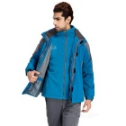 Wind Tour Men's Outdoor Water-Resistant Warm Windbreaker Jacket Coat w/ Removable Liner - Blue (XL)