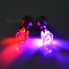 CTSmart Unisex Fashion Red + Deep Pink Light LED Luminous Ear Studs Earrings for Party / Bar (2PCS)