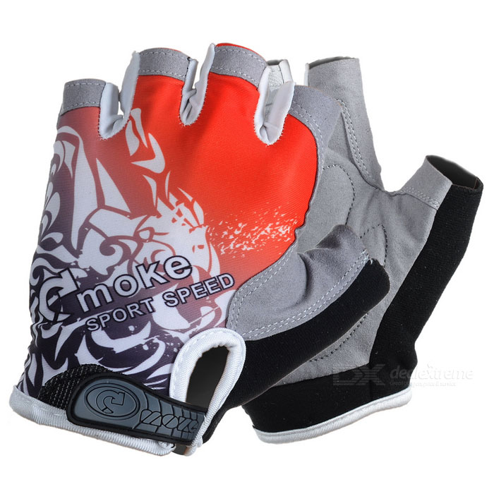 MOke Outdoor Cycling Riding Breathable Anti-Shock Half-Finger Gloves - Grey + Red (XL / Pair)