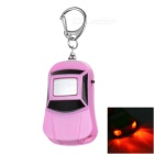 Car Shape Anti-Lost Key Finder Alarm Locator Whistle Keychain w/ Red Light LEDs - Pink