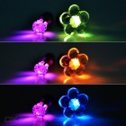 CTSmart Deep Pink + Colorful Light LED Luminous Ear Studs - Silver