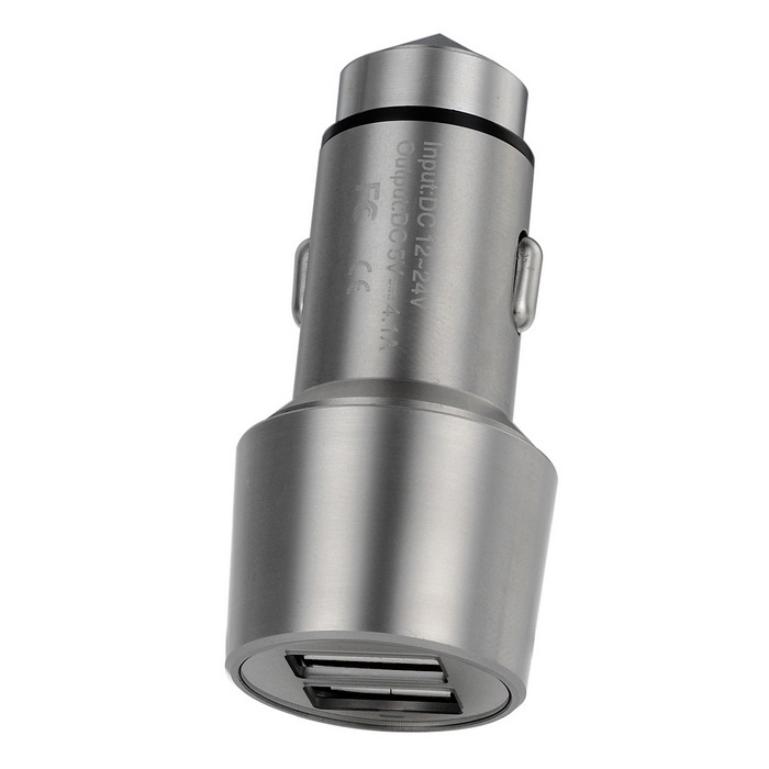 4.1A USB Car Charger w/ Indicator / Safety Hammer - Silver (12~24V)