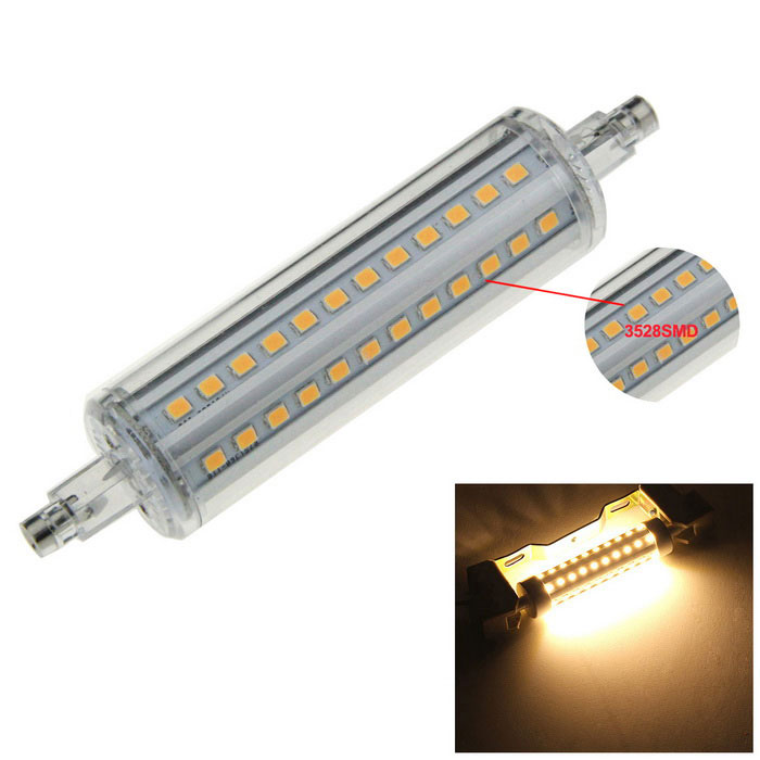 R7S 8W 72-3528 SMD LED 600lm 3000K Warm White Light Bulb (AC 220~240V)Form  ColorWhite + Silver Grey + Multi-ColoredColor BINWarm WhiteMaterialAluminum plate + plasticQuantity1 DX.PCM.Model.AttributeModel.UnitPower8WRated VoltageAC 220-240 DX.PCM.Model.AttributeModel.UnitConnector TypeOthers,R7SEmitter Type3528 SMD LEDTotal Emitters72Theoretical Lumens800 DX.PCM.Model.AttributeModel.UnitActual Lumens600 DX.PCM.Model.AttributeModel.UnitColor Temperature3000KDimmableNoBeam Angle360 DX.PCM.Model.AttributeModel.UnitCertificationCEPacking List1 x LED light<br>