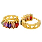 Xinguang Women's Fashion Circle Color Crystal Earrings