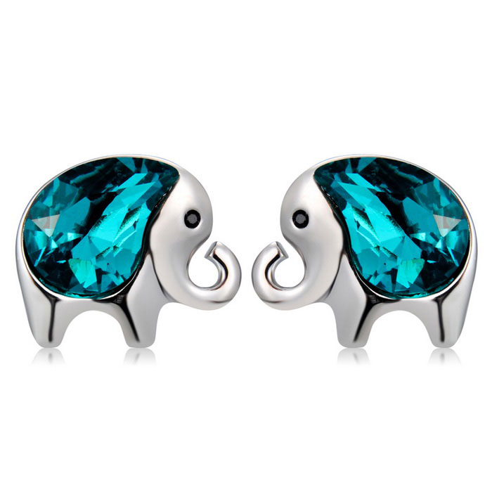 Xinguang Women's Korean Style Cute Elephant Crystal Earrings - Silver