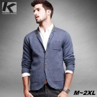 KUEGOU Men's Fashionable Knitted Suit Coat - Blue + Grey (L)