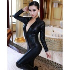 Women's Sexy Zipped Open-Crotch Patent Leather Jumpsuit - Black (L)