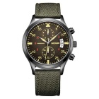 MEGIR Men's Business Quartz Watch w/ 2 Real Sub-Dials / Calendar / Leather Strap - Army Green +Black