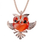 18K Gold Plating Synthetic Opal Crystal Owl Modelling Necklace - Gold + Orange