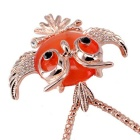 18K Gold Plating Synthetic Opal Owl Shape Necklace - Gold + Orange
