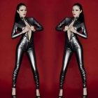 Women's Sexy Zipped Open-Crotch Patent Leather Jumpsuit - Black (S)