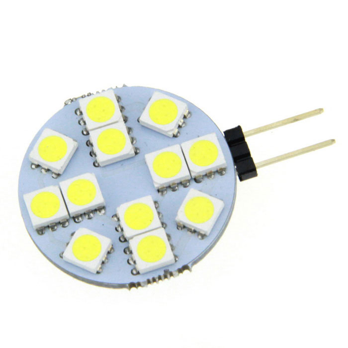 FandyFire G4 3W Lamp Bluish White 7000K 600lm 12-5050 LED (DC 12V)G4<br>Form ColorSilver + Yellow,?+?Color BINCold WhiteMaterialCircuit boardQuantity1 piecePower3WRated VoltageOthers,DC 12 VConnector TypeG4Emitter Type5050 SMD LEDTotal Emitters12Theoretical Lumens120 lumensActual Lumens120 lumensColor Temperature12000K,Others,7000KDimmableNoBeam Angle360 °Packing List1 x LED lamp<br>