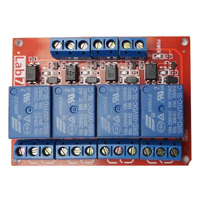 Produino New 4-Channel 5V High Level Relay Module - Red + BlueRelays <br>Form ColorRed + Blue + Multi-ColoredModelN/AQuantity1 DX.PCM.Model.AttributeModel.UnitMaterialFR-4Max. Load220V 10AInput Voltage5 DX.PCM.Model.AttributeModel.UnitTrigger Current5mAEnglish Manual / SpecYesDownload Link   http://pan.baidu.com/s/1i4ehd0xPacking List1 x Module<br>