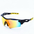 OSSAT Outdoor Cycling UV400 Protection TR90 Frame PC Red REVO Lens Sunglasses - Black + Yellow