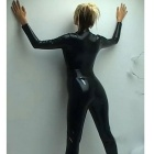Women's Sexy Zipped Open-Crotch Patent Leather Jumpsuit - Black (XL)