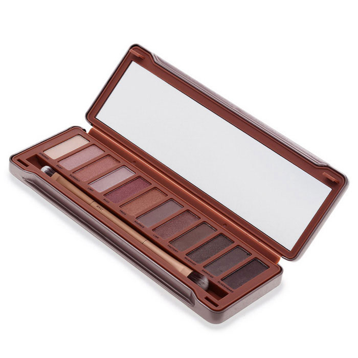Professional 12-Color Nude Eye Shadow Palette w/ Brush - Brown