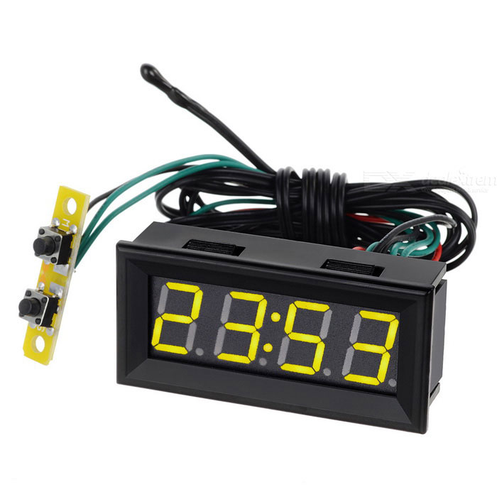 2 Car Yellow LED Digital Clock w/ Temperature Voltage Display - BlackVoltmeter or Thermometers or Hygrometers<br>Form  ColorYellow DisplayModelN/AQuantity1 DX.PCM.Model.AttributeModel.UnitMaterialABSFunctionTemperature display,clock,voltage displayScreen Size2 DX.PCM.Model.AttributeModel.UnitDisplay ColorYellowClock Display Format24 hoursAlarm ClockNoTemperature Range-20~70 DX.PCM.Model.AttributeModel.UnitPower Supply7~30VPacking List1 x Digital clock (15cm power cable and switch cable, 100cm probe cable)<br>