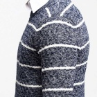 KUEGOU Men's Striped Round Neck Pullover Sweater - Grey + White (L)