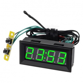 "2"" carro LED verde relógio digital w / display de tensão de temperatura - preto"
