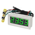 "DIY 2"" Car Green LED Digital Clock Support Temperature / Voltage / Clock Display - Black + White"